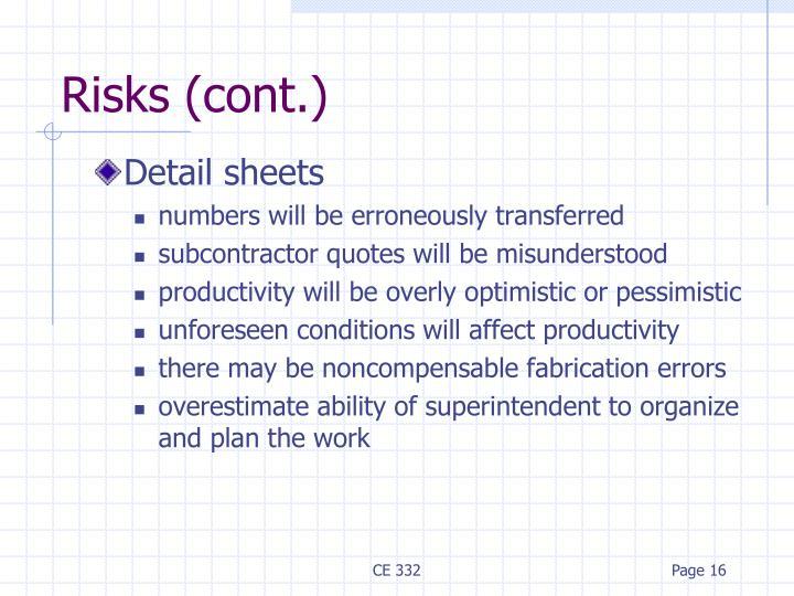 Risks (cont.)