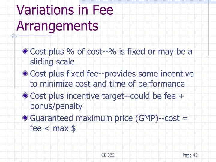 Variations in Fee Arrangements