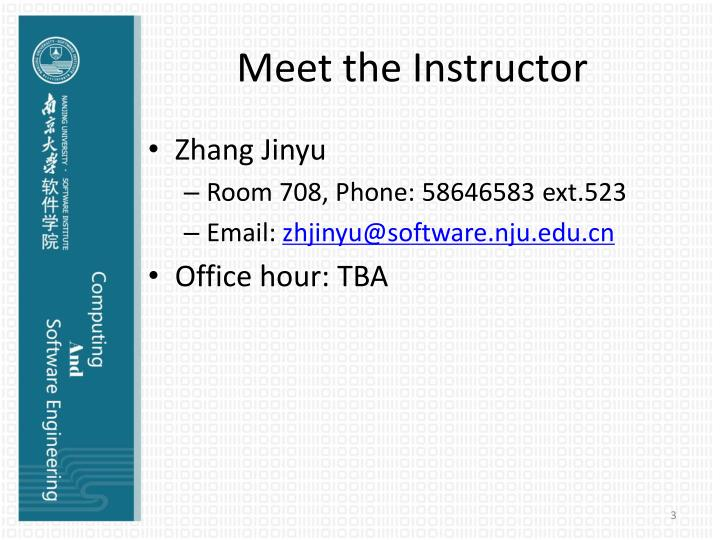 Meet the Instructor