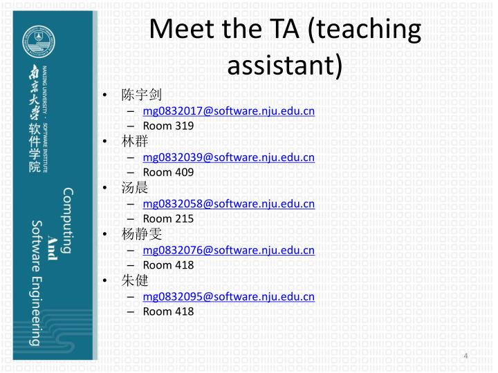 Meet the TA (teaching assistant)