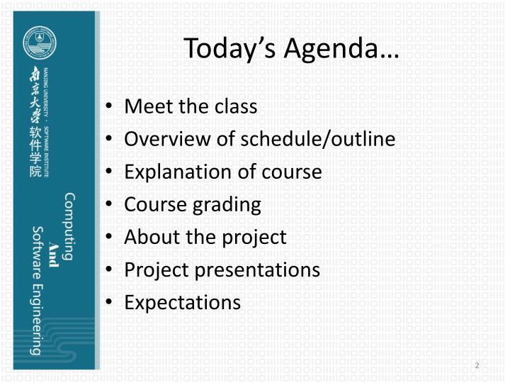 Today's Agenda…