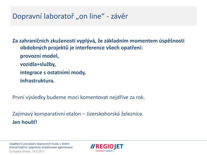 """Dopravní laboratoř """"on line"""" - závěr"""