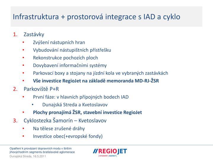 Infrastruktura + prostorová integrace s IAD a