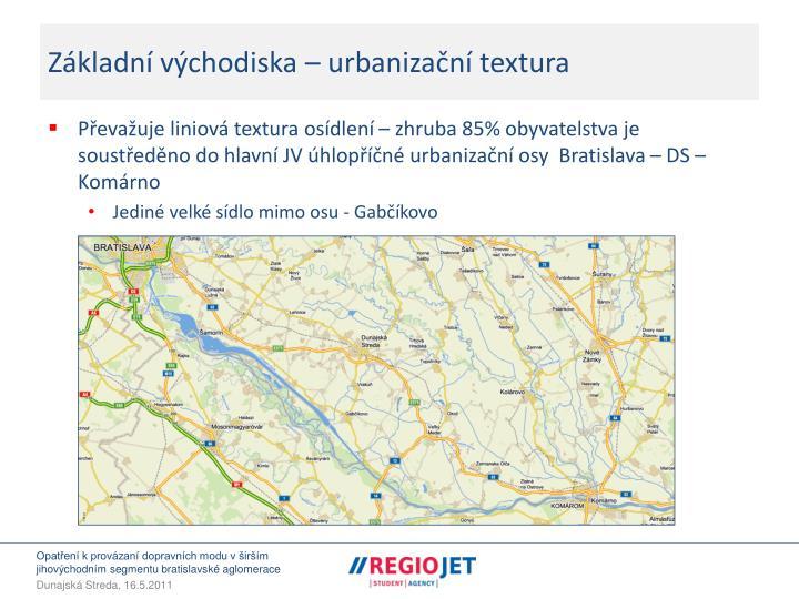 Základní východiska – urbanizační textura