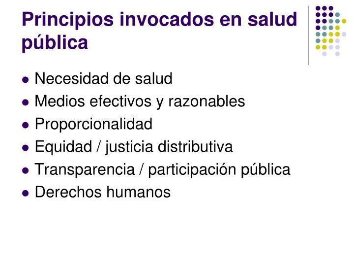 Principios invocados en salud pública