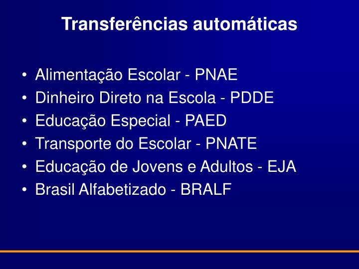 Transferências automáticas