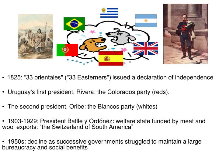 "1825: ""33 orientales"" (""33 Easterners"") issued a declaration of independence"