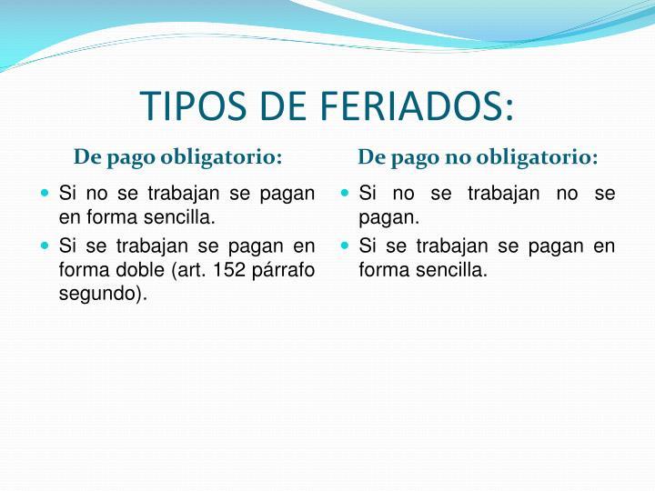 TIPOS DE FERIADOS: