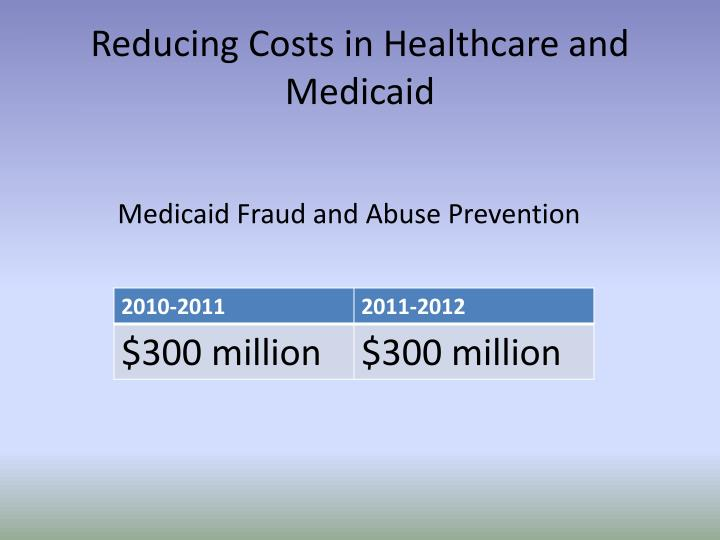 Reducing Costs in Healthcare and Medicaid