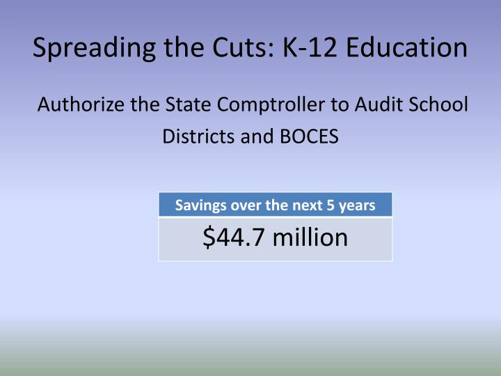 Spreading the Cuts: K-12 Education