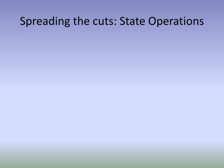Spreading the cuts: State Operations