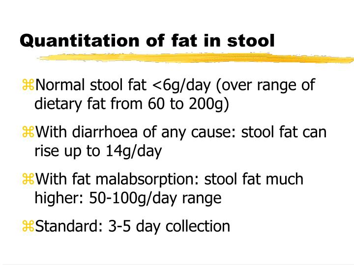 Quantitation of fat in stool