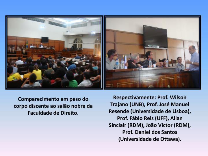 Respectivamente: Prof. Wilson Trajano (UNB), Prof. José Manuel Resende (Universidade de Lisboa), Prof. Fábio Reis (UFF), Allan Sinclair (RDM), João Victor (RDM), Prof. Daniel dos Santos (Universidade de Ottawa).