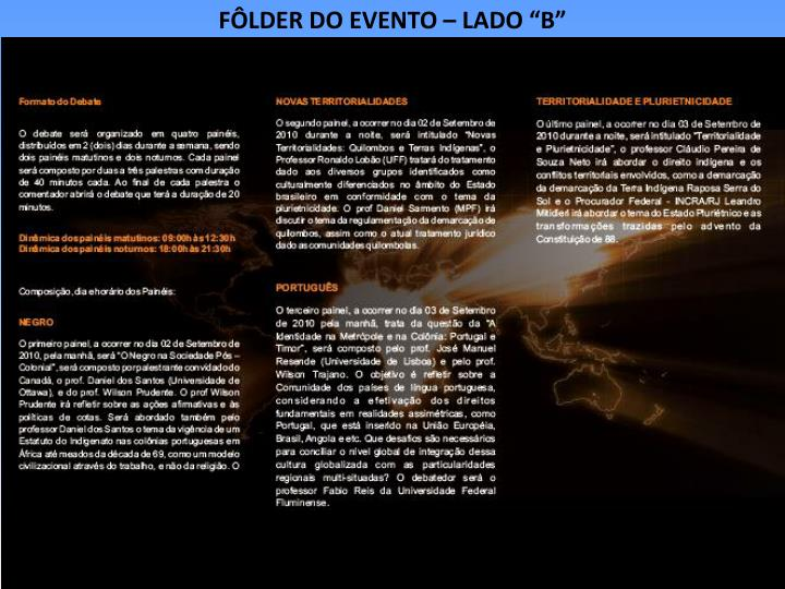 """FÔLDER DO EVENTO – LADO """"B"""""""