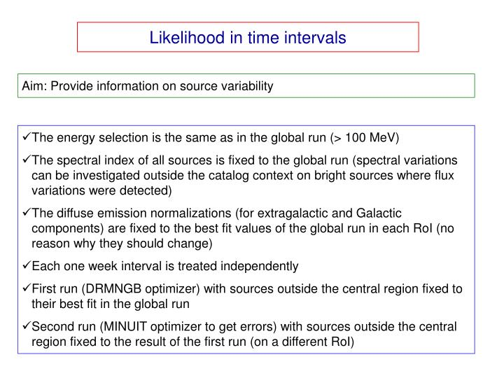 Likelihood in time intervals
