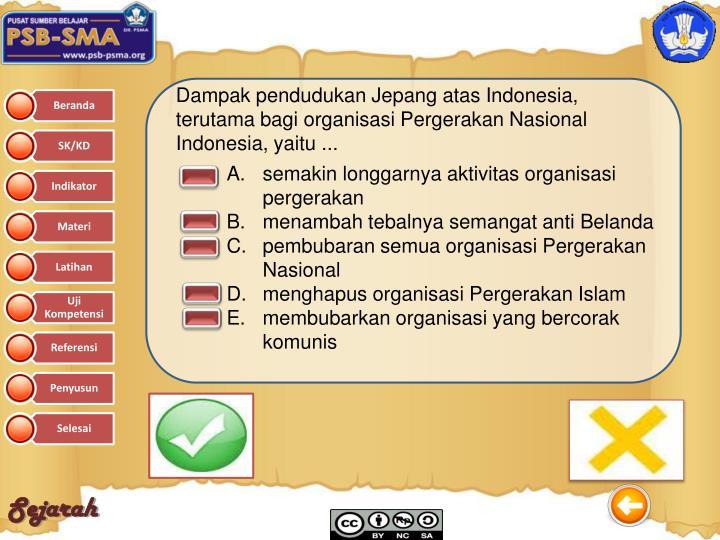 Dampak pendudukan Jepang atas Indonesia, terutama bagi organisasi Pergerakan Nasional Indonesia, yaitu ...