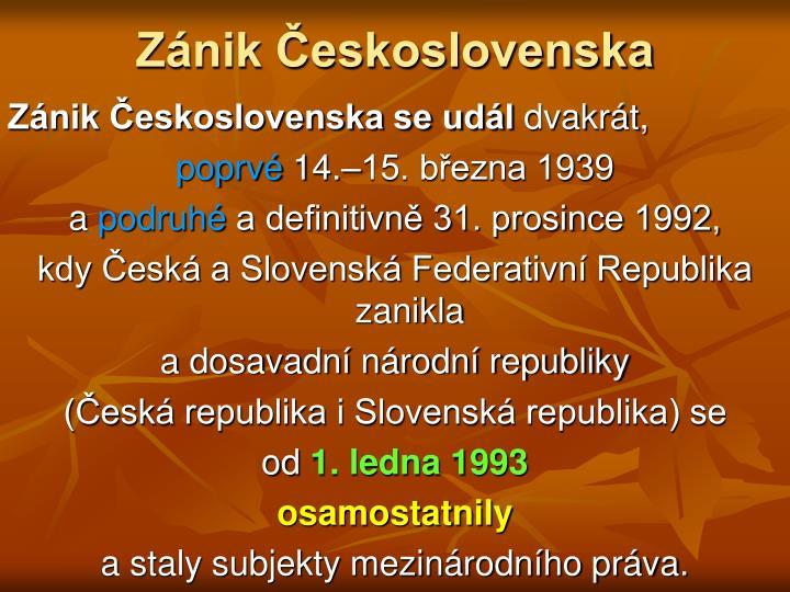 Zánik Československa