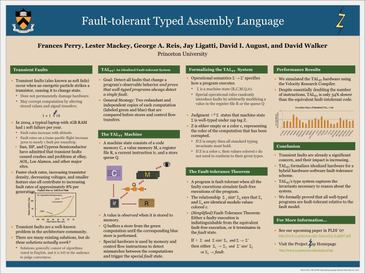 Fault-tolerant Typed Assembly Language