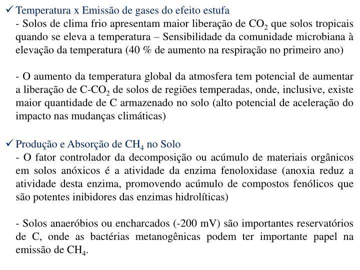 Temperatura x Emisso de gases do efeito estufa