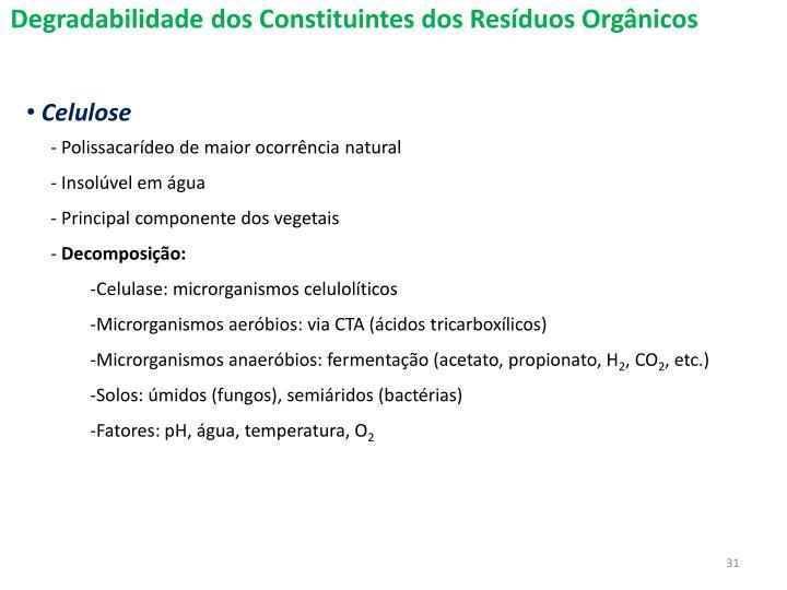 Degradabilidade dos Constituintes dos Resduos Orgnicos