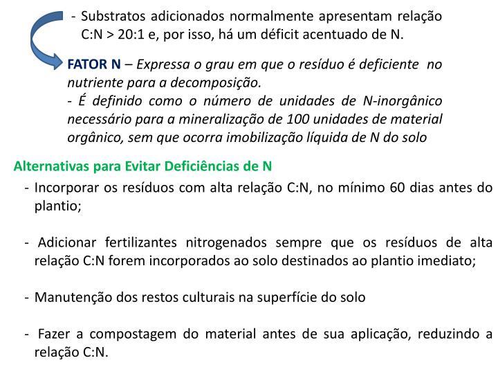 Substratos adicionados normalmente apresentam relao C:N > 20:1 e, por isso, h um dficit acentuado de N.