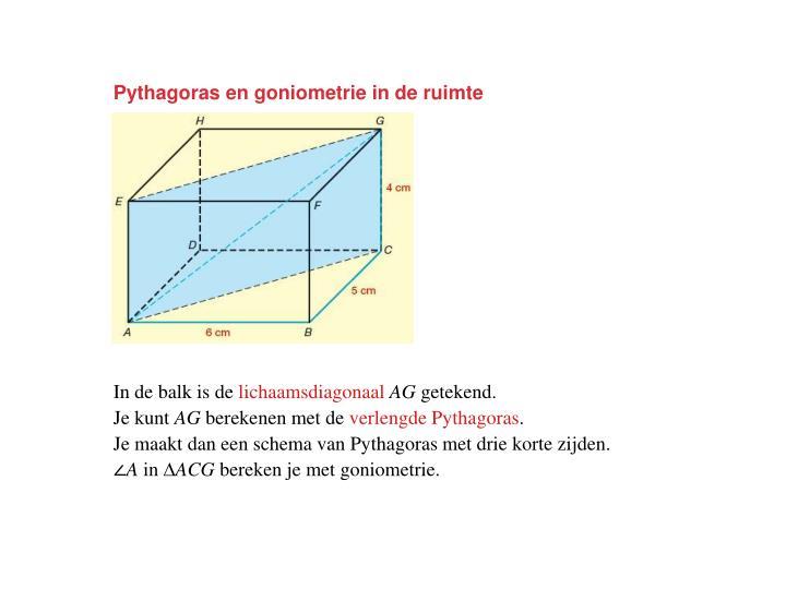 Pythagoras en goniometrie in de ruimte