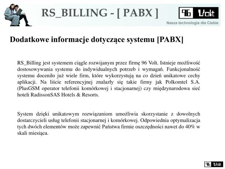 Dodatkowe informacje dotyczące systemu [PABX]