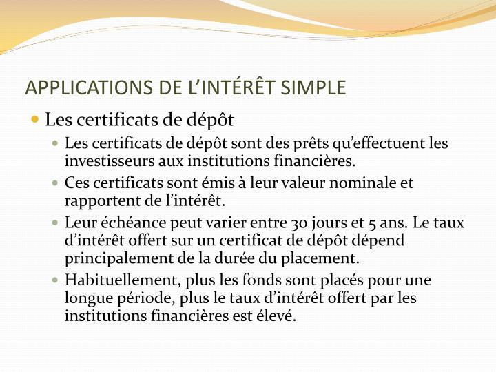 APPLICATIONS DE L'INTÉRÊT SIMPLE