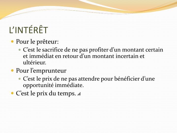 L'INTÉRÊT
