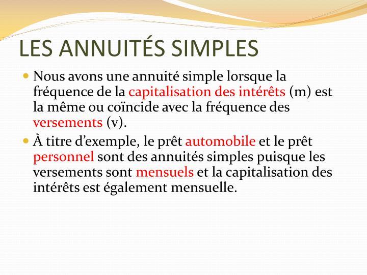 LES ANNUITÉS SIMPLES