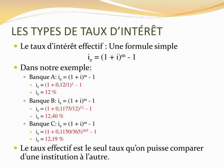 LES TYPES DE TAUX D'INTÉRÊT