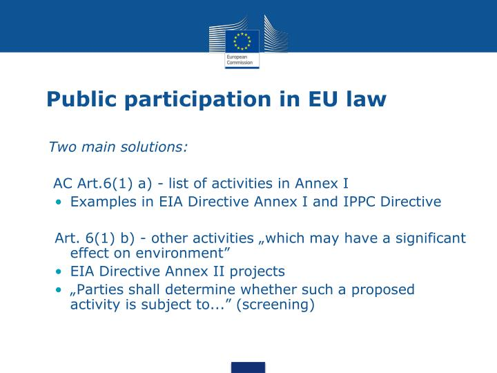 Public participation in EU law