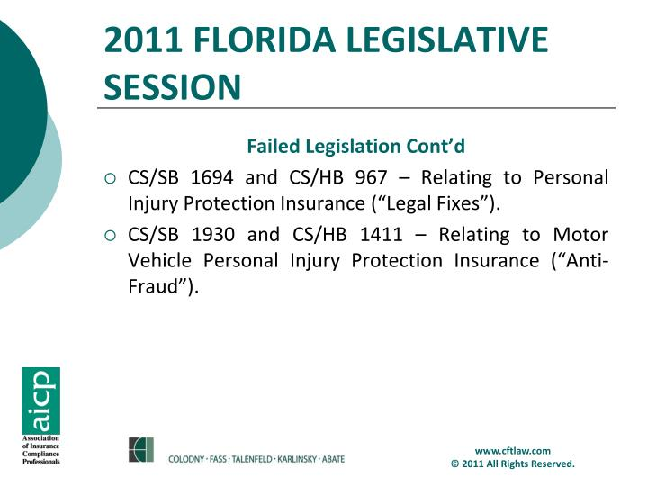2011 FLORIDA LEGISLATIVE SESSION
