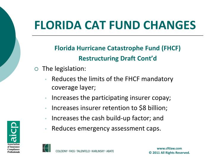 FLORIDA CAT FUND CHANGES