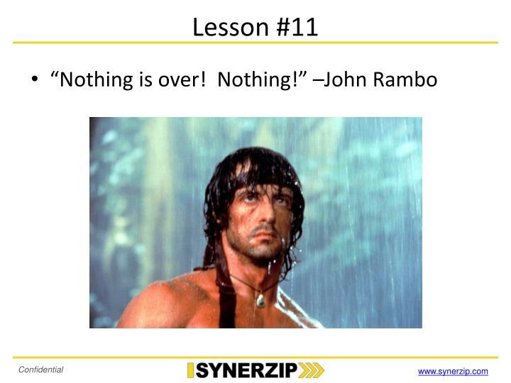 Lesson #11