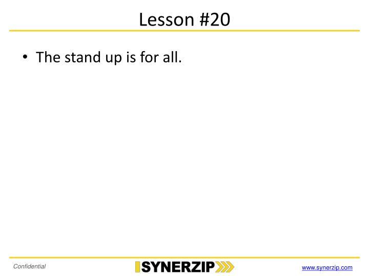 Lesson #20