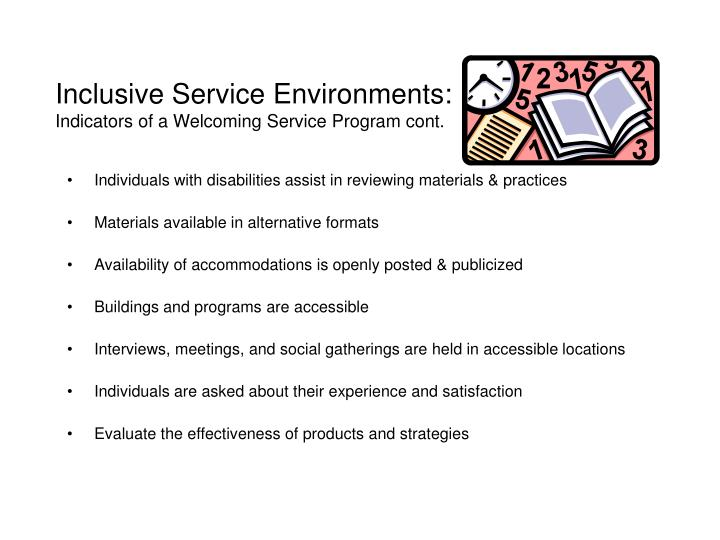 Inclusive Service Environments: