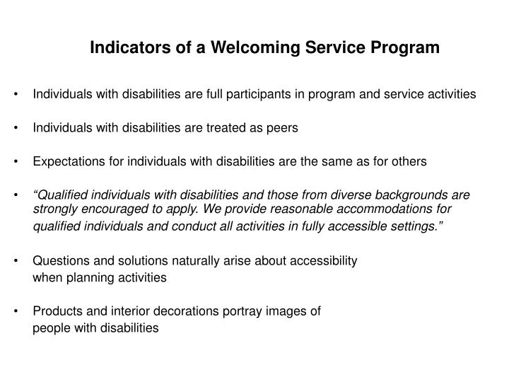 Indicators of a Welcoming Service Program
