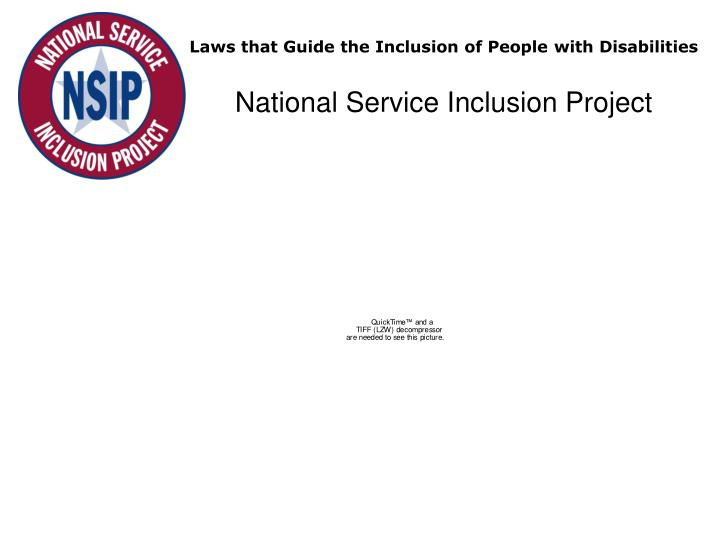Laws that guide the inclusion of people with disabilities national service inclusion project
