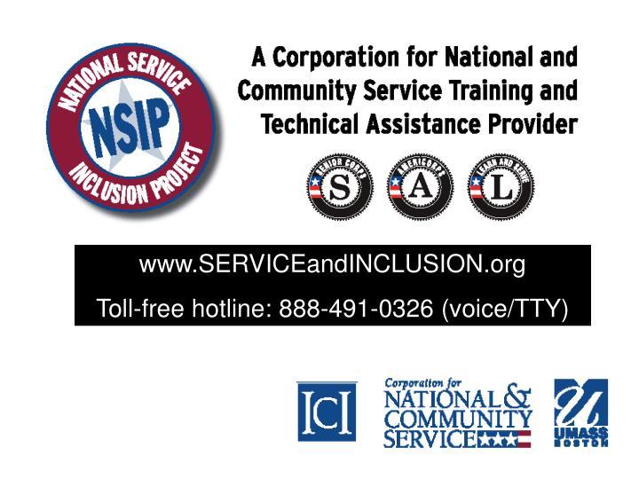 www.SERVICEandINCLUSION.org