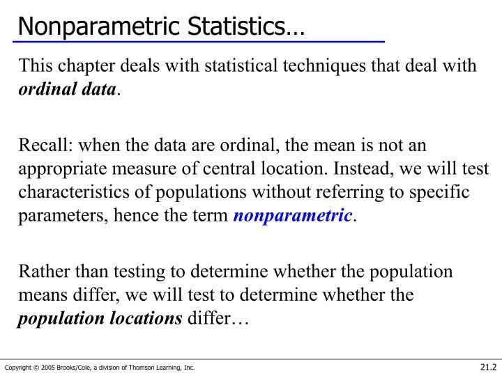 Nonparametric Statistics…