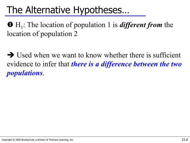 The Alternative Hypotheses…