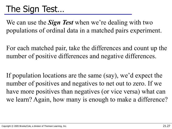The Sign Test…