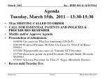 agenda tuesday march 15th 2011 13 30 15 30