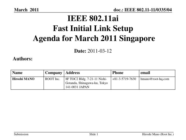ieee 802 11ai fast initial link setup agenda for march 2011 singapore