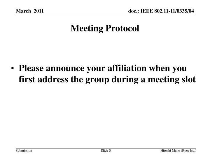 Meeting Protocol