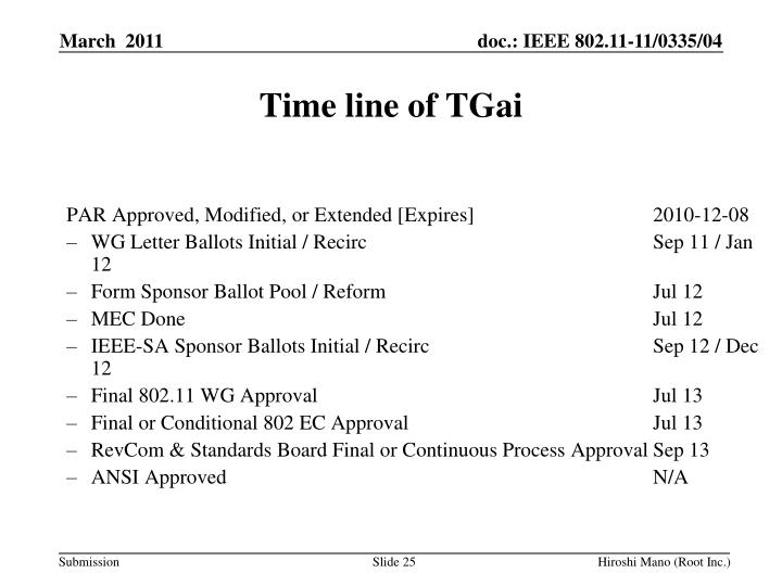 Time line of TGai