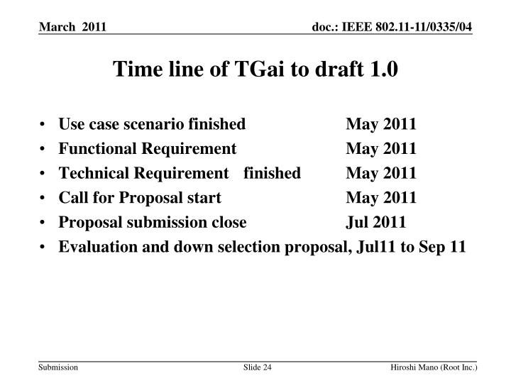 Time line of TGai to draft 1.0