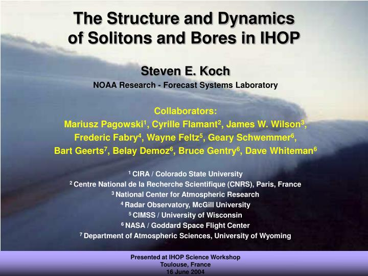 The structure and dynamics of solitons and bores in ihop