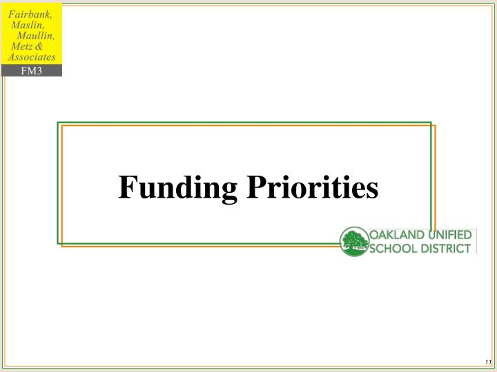 Funding Priorities